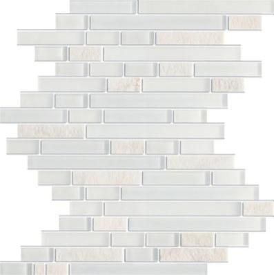 Zen Glacier Tumbled Brick Marble & Glass Tile