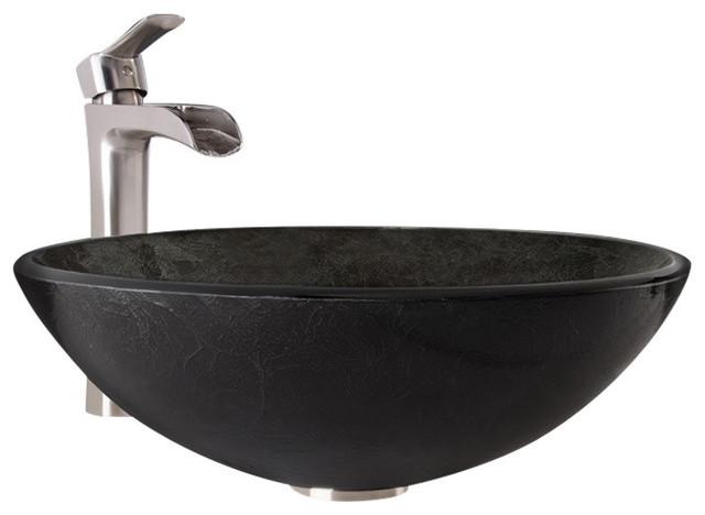 Vigo Gray Onyx Glass Vessel Bathroom Sink And Niko Faucet Set.