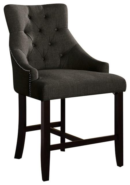 Awe Inspiring Counter Height Chairs Set Of 2 Gray Fabric And Walnut Wood Uwap Interior Chair Design Uwaporg
