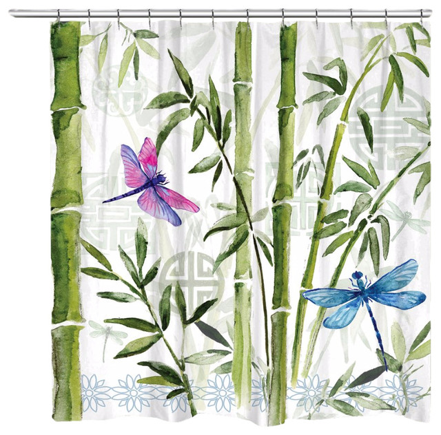 Laural Home Bamboo Dragonflies Shower Curtain - Asian - Shower ...