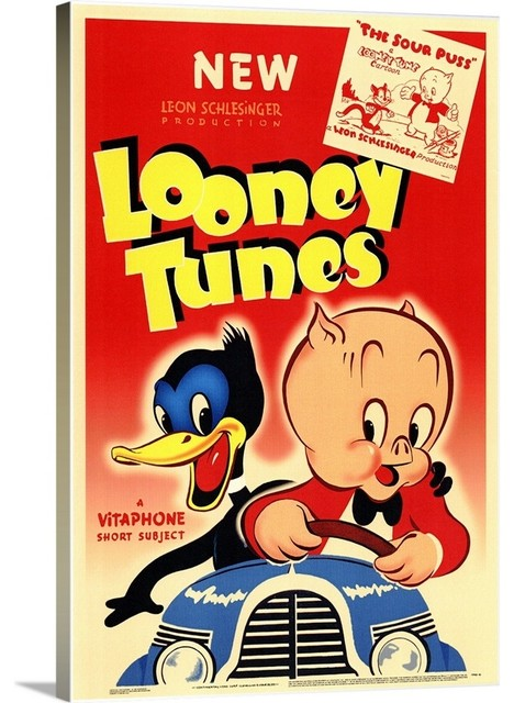 Looney Tunes 1940 Wrapped Canvas Art Print Midcentury Kids
