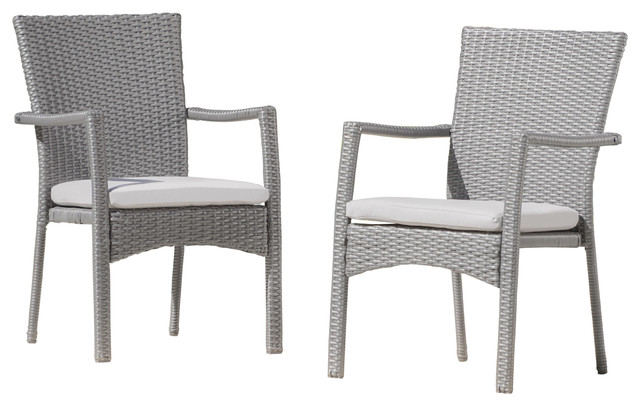 Genial Tigua Outdoor Wicker Dining Chairs With Cushions, Set Of 2, Gray