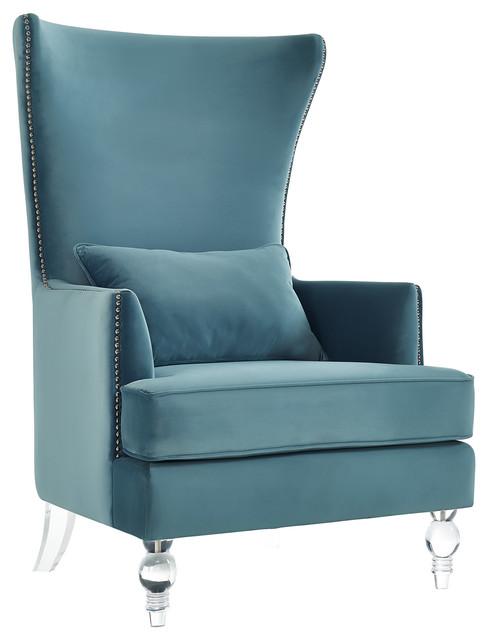 Bristol Sea Blue Velvet Chair With Lucite Legs