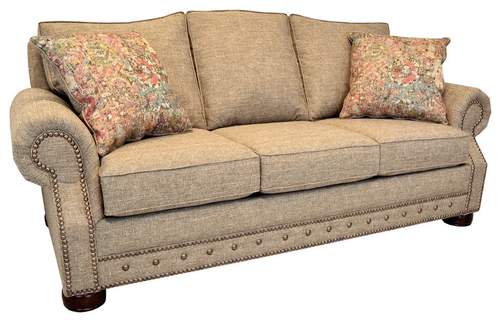 Whitaker Khaki Tweed Sofa With Nailhead Trim