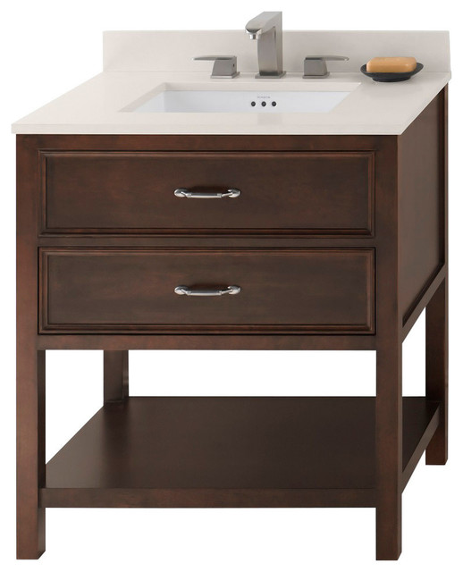 Ronbow newcastle solid wood 30 vanity set with ceramic for Solid wood bathroom vanity