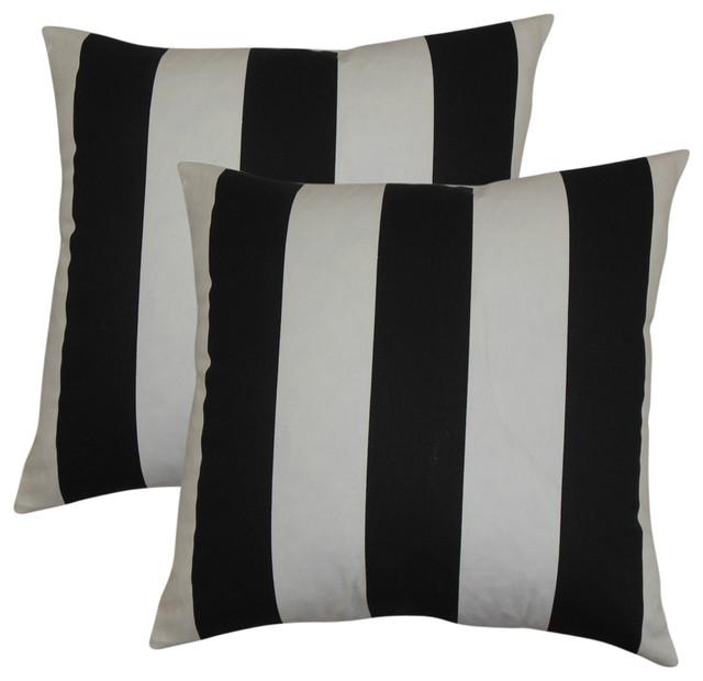 Leesburg Stripes Throw Pillows, Black White, Set Of 2.