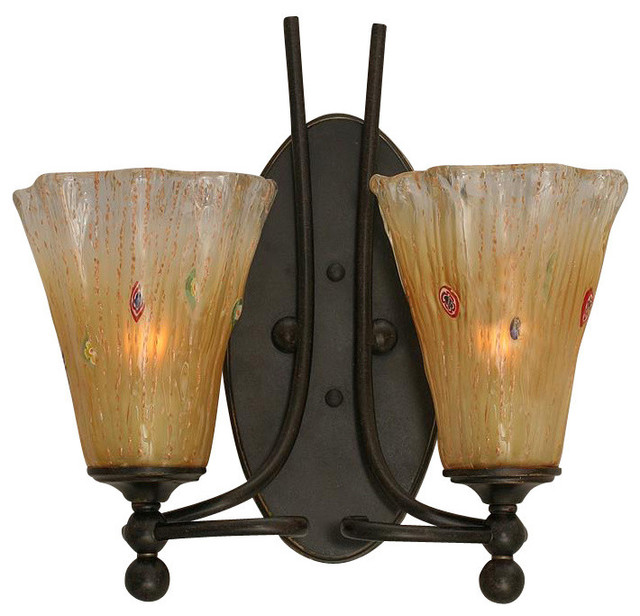 Amber Crystal Wall Lights : 2-Light Wall Sconce, Dark Granite, 5.5