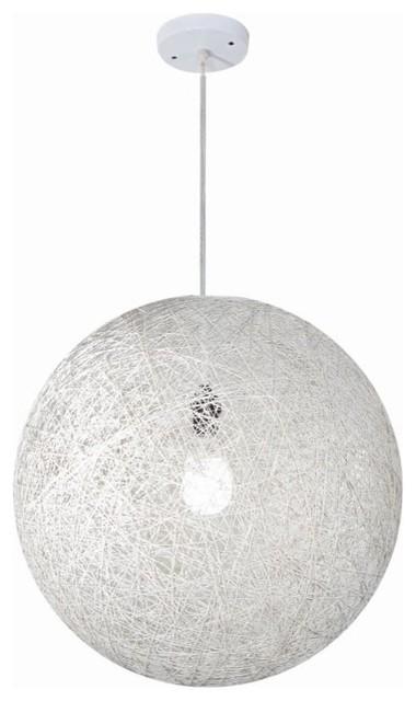 White Rattan Ball Pendant