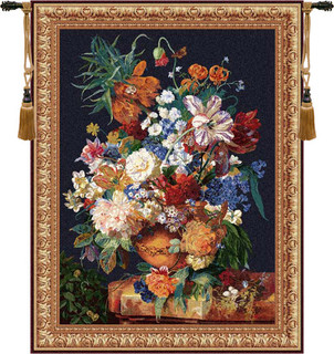 Terracotta Floral Bouquet Black - Traditional - Tapestries ...