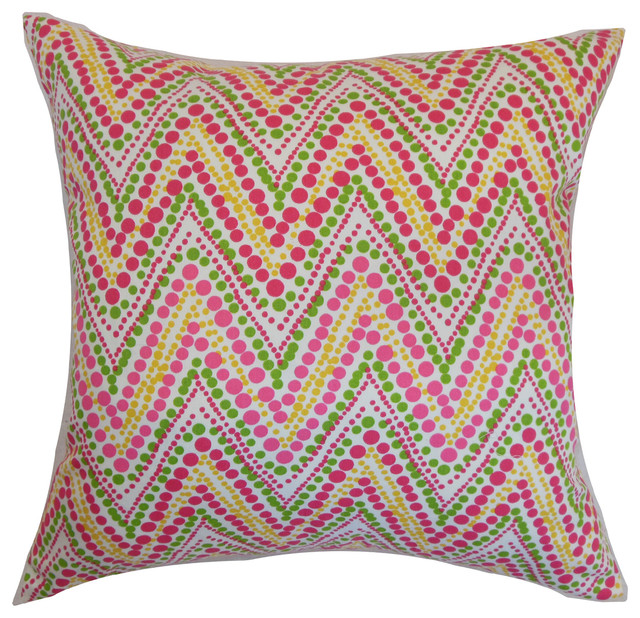 The Pillow Collection - Maesot Zigzag Floor Pillow Pink Green - View in Your Room! Houzz
