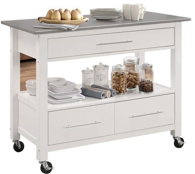 Acme Ottawa Kitchen Cart, Stainless Steel and White