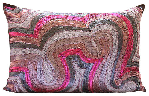 "Pink Art Silk 12""x14"" Abstract Sequins Lumbar Pillow Cover, Wonder Lust."