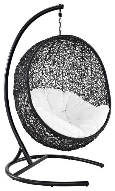 Encase Swing Outdoor Wicker Rattan Lounge Chair, Espresso White