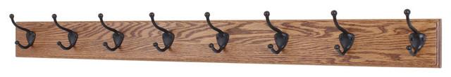"Solid Oak Wall Coat Rack, Bronze Hooks, Chestnut, 41""x3.5"", 8-Hooks."