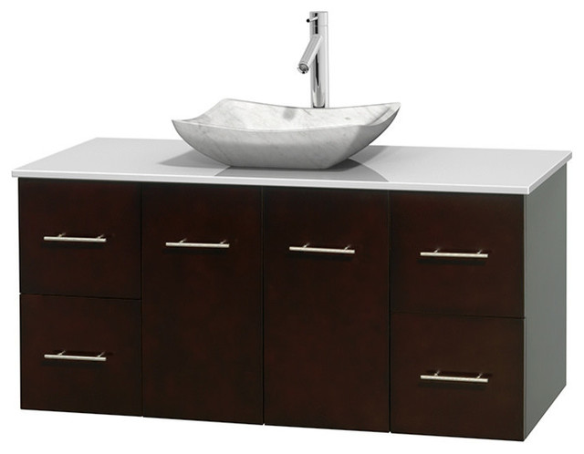 48 single bathroom vanity in espresso white man made stone countertop sink contemporary for Man made bathroom countertops