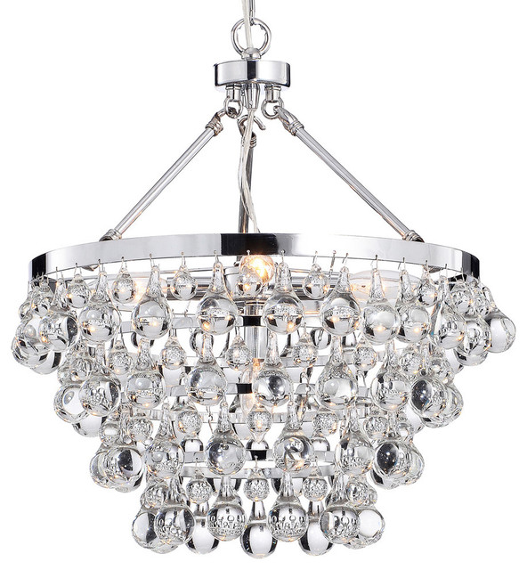 Crystal Glass 5-Light Luxury Chandelier, Chrome.