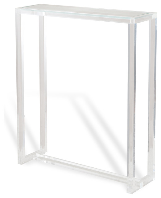 modern tall narrow acrylic console table transitional tables singapore with storage high