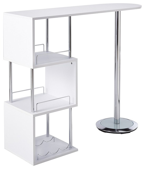 Justus Bar Table With Storage Shelves, White.