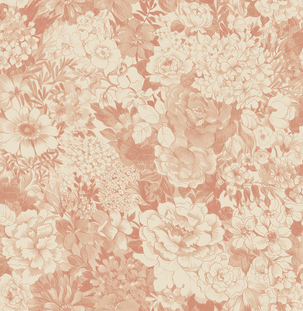Dodge Peach Floral Wallpaper Traditional Wallpaper By
