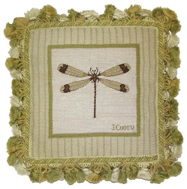 Traditional Decorative Pillows : HKH International - Dragonfly Gross Point Pillow & Reviews Houzz