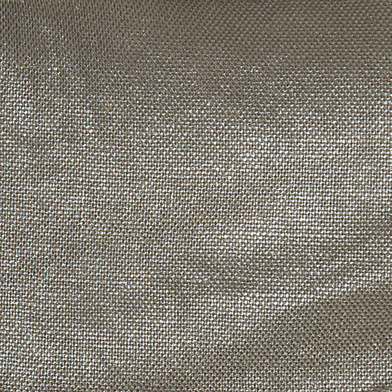 Metallic Silver Coated Taupe Linen Fabric