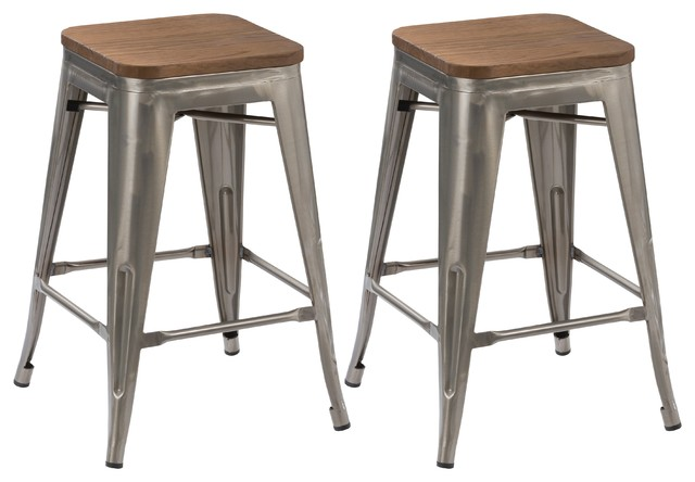 24  Antique-Style Vintage-Style Gunmetal Wood Top Distressed Stools Set of  sc 1 st  Houzz & 24