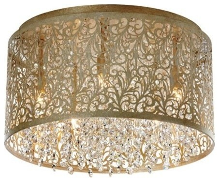 Dainolite 5-Light Crystal Flush Mount, Floral, Palladium Gold, Sie-145fh-Pg.
