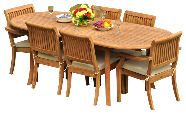 7-Piece Teak Dining Set, 94 Ext Oval, 6 Arbor Stacking Arm/armless Chairs.