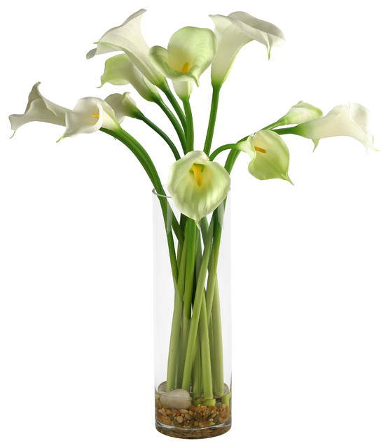 Dw Silks Calla Lilies In Tall Glass Vase Contemporary