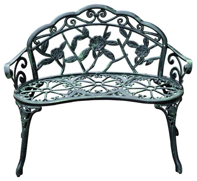 Outsunny 40 Cast Iron Antique Rose Style Outdoor Patio Garden Bench.