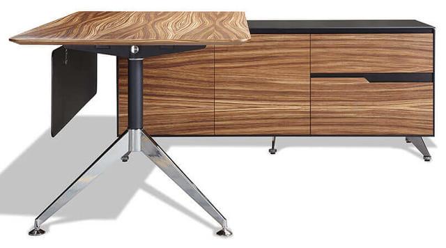 400 Series Executive Desk and Right Credenza Zebrano