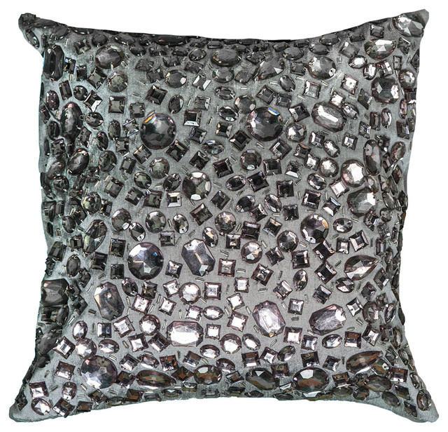"12""x12""gray Decorative Pillow With Applique Of Large Crystal Beads."