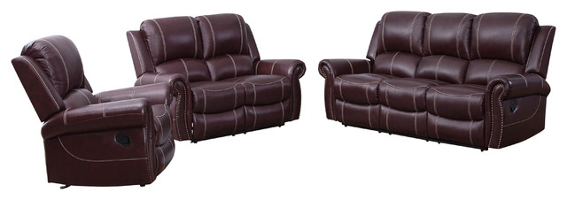 Abbyson Living Abby Leather Reclining Sofa, Love Seat and Armchair Set,  Burgundy