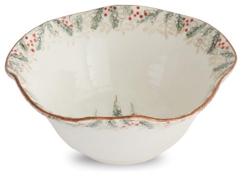 Arte Italica Christmas Natale Cream Serving Bowl - ChristmasTablescapeDecor.com