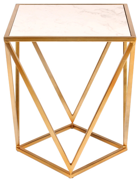 Maia Metal Side Accent Table With Marble Top, Gold.