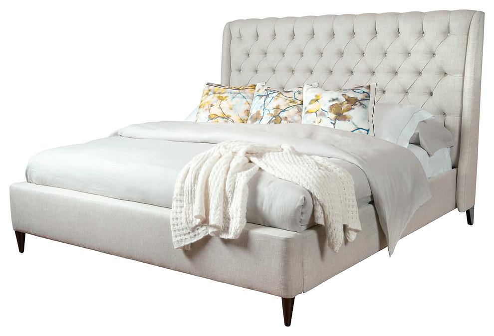 Kara Hollywood Regency Button Tufted Fawn Linen Bed Queen