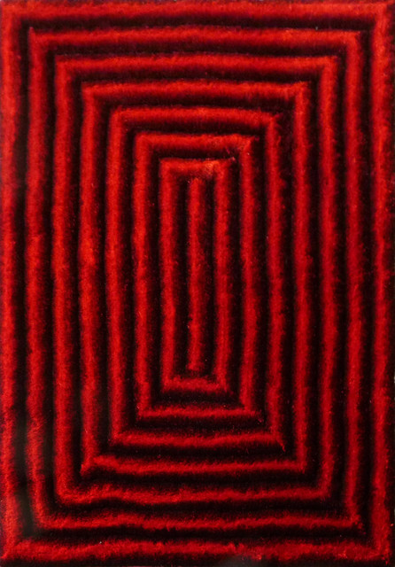Black And Red Shaggy Rugs Home Decor