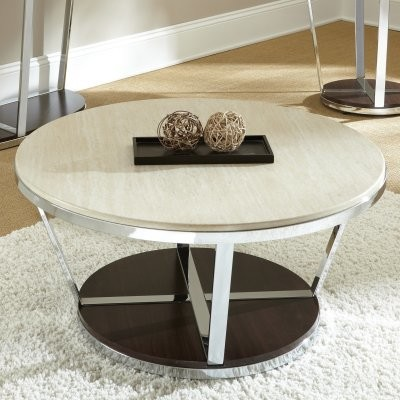 Steve Silver Bosco Round Faux Marble Coffee Table With Casters