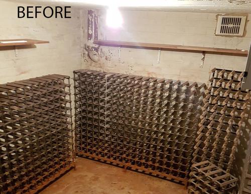 & Before u0026 After - High Capacity Wine Storage for Underground Cellar