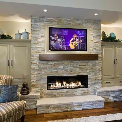 Mouting TV low on fireplace - scale with cathedral ceiling