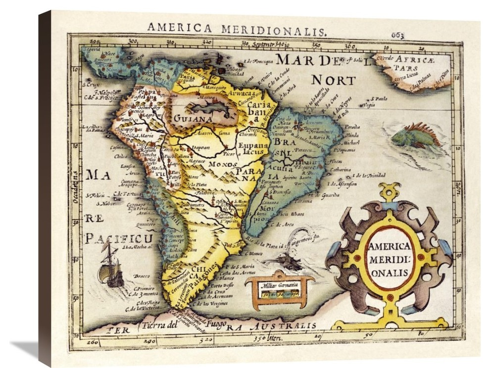 Map Of South America Stretched Canvas Giclee By Gerard Mercator 16 X13 Contemporary Prints And Posters By Global Gallery