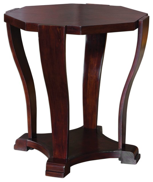 Elegant Curved Wood Octagon Side Table, Round Accent Pedestal Square  Transitional Side Tables