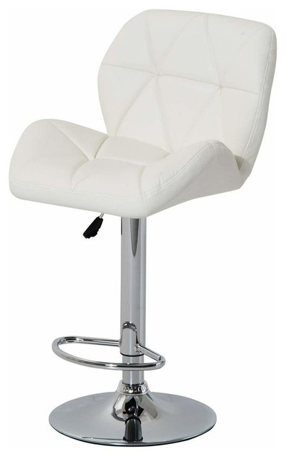 Modern Swivel Bar Stool, Faux Leather With Gas Lift, Backrest, Footrest, White