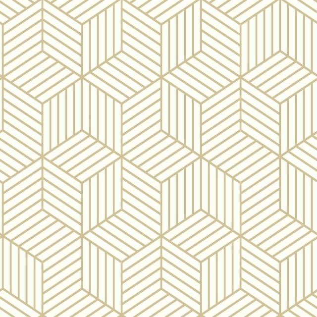 Roommates Rmk10704wp Stripped Hexagon Whitegold Peelstick