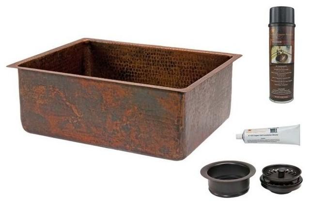 "25"" Hammered Copper Kitchen Single Basin Sink."