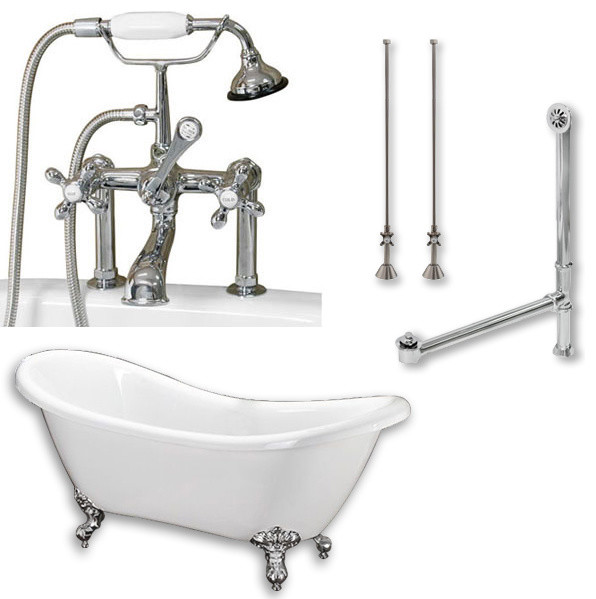 acrylic clawfoot tub package. 68  Double Slipper Clawfoot Tub Deck Mount Plumbing Package Chrome victorian bathtubs