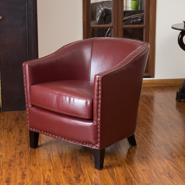 Christopher Knight Home Austin Oxblood Red Leather Club Chair contemporary-armchairs-and-accent-chairs