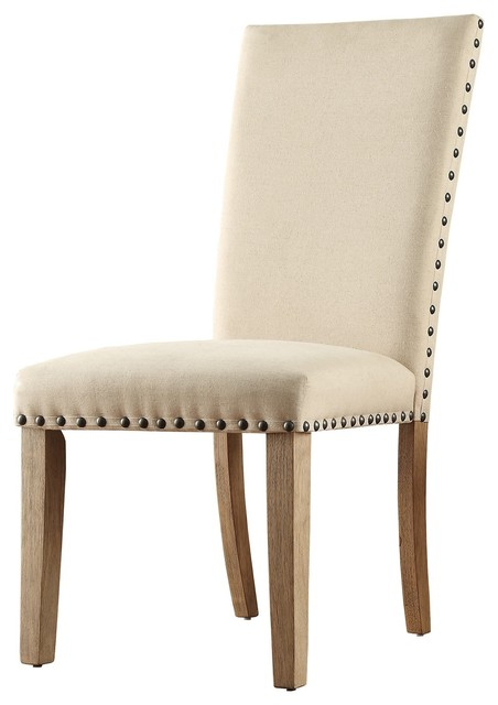 Awesome Jonas Linen Upholstered Nailhead Dining Chair Set Of 2 Beige Bralicious Painted Fabric Chair Ideas Braliciousco