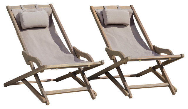 Northland Outdoor Wood And Canvas Sling Chairs, Set Of 2  Transitional Outdoor Folding