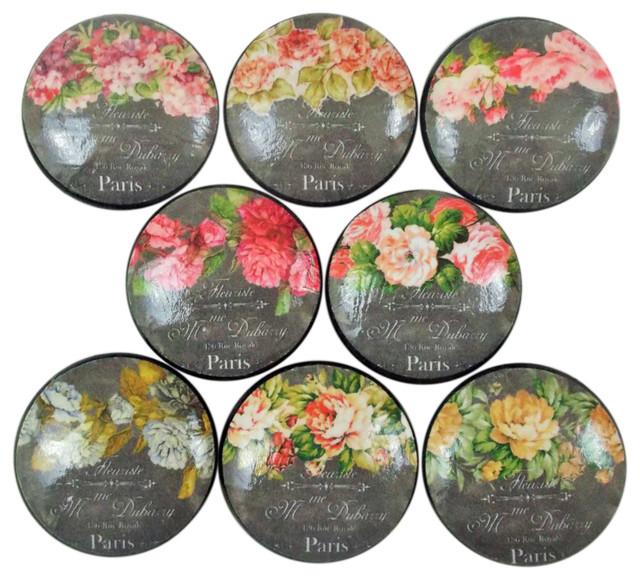 8 Piece Set Floral Chalkboard French Label Cabinet Knobs